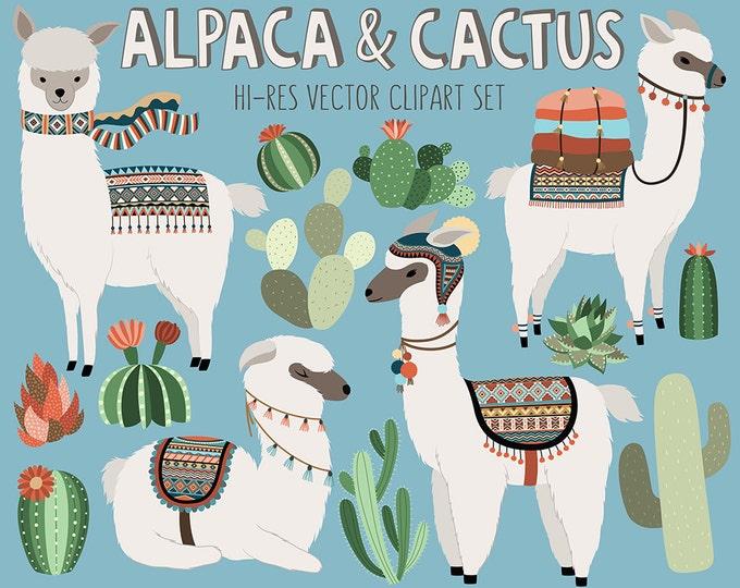 Cactus and Llama Clipart - Adorable Alpaca and Desert Vector Clip Art Set - Digital Design Elements with Unique Tribal Patterns