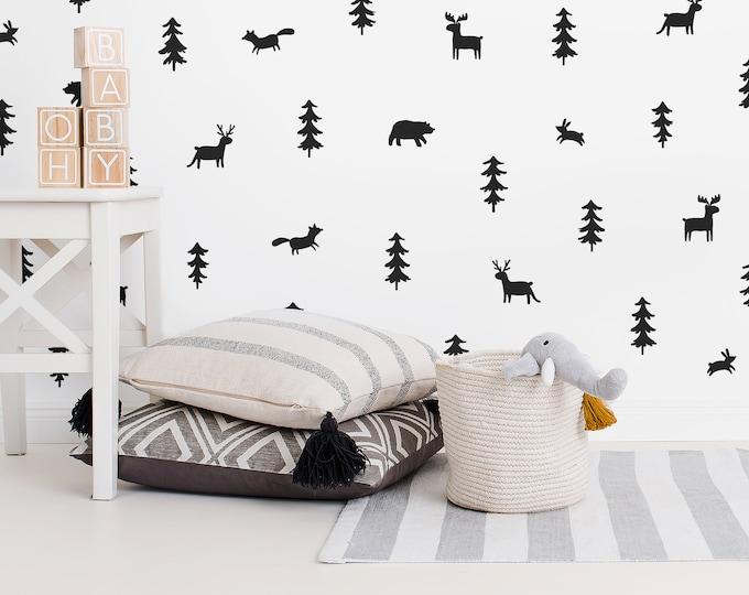 Woodland Wall Decals - Woodland Nursery Wall Stickers, Nursery Decals, Forest Decals, Tree Wall Decals, Animal Decals