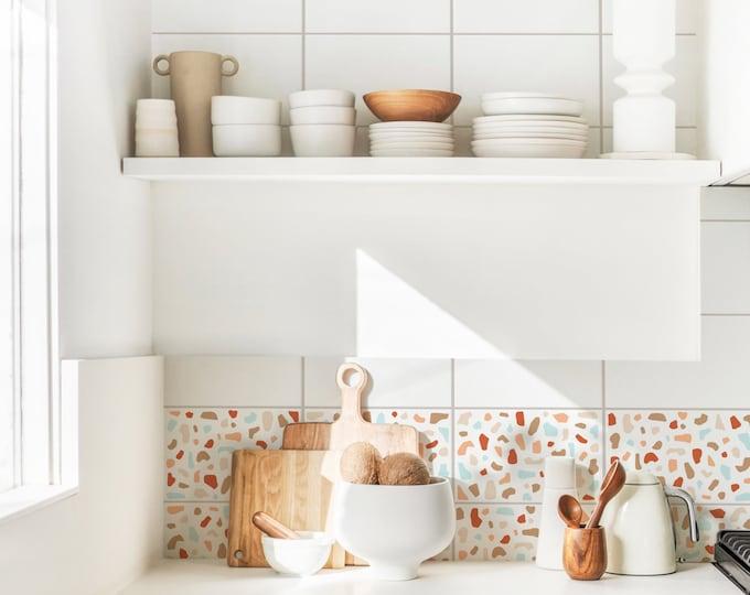 Peel and Stick Wall Decals - Kitchen Decor, Terrazzo Wall Stickers, Bathroom Wall Art