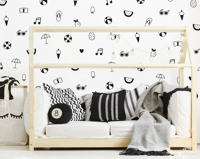 Summer Fun Wall Decals - Nursery Decals, Kids Room Decals, Beach Wall Decor, Nursery Decor, Kids Room Decor, Wall Stickers, Pineapple Decal