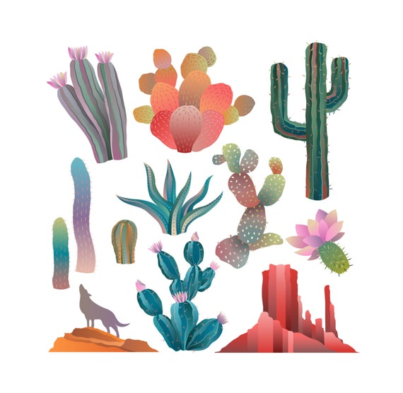 Colorful Desert Landscape and Cactus Clip Art- Set of 12 300 DPI Vector, PNG, and JPG Files