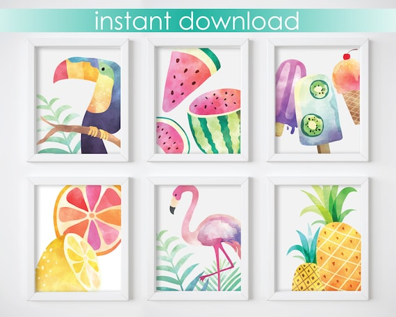 Wall Art Prints - Tropical Prints, Nursery Prints, Wall Art Prints, Watercolor Art Prints, Pineapples, Printable Wall Art, Digital Download