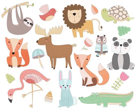 Cute Animals Clipart - 19 Vector, PNG, & JPG Files - Unique, Hand Drawn Doodles, Adorable Kids Clip Art Set