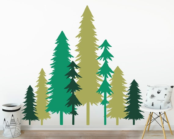 CLEARANCE 50% OFF - Large 3 Color Pine Tree Forest Wall Decals - Tree Wall Decals, Forest Mural, Forest Scene Decals, Large Wall Decals