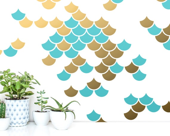 Mermaid Scale Wall Decals - 2-Color Wall Decals, Nursery Decals, Geometric Decals, Modern Wall Decals, Unique Wall Decor, Scales Decals