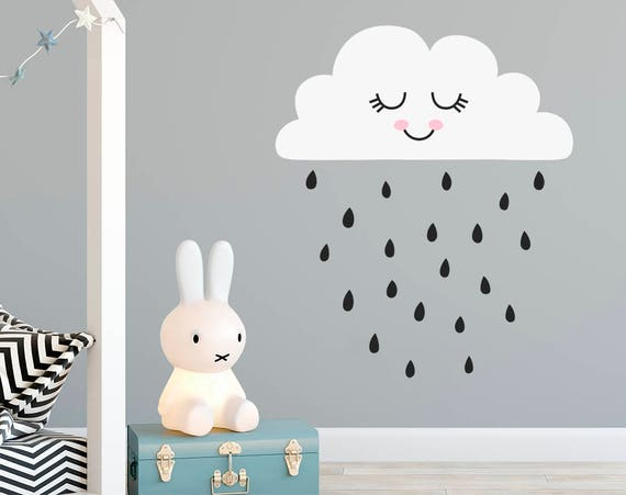 Cloud Wall Decal - Nursery Decal, Cloud Decal, Rain Decal, Cute Nursery Decal, Wall Sticker, Nursery Wall Decor