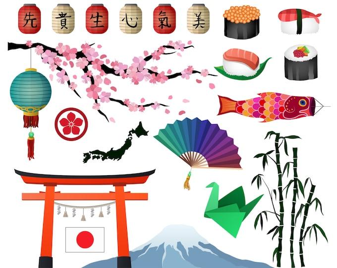 Japanese/Asian Clip Art- Set of 21 300 DPI JPG, PNG, and Vector Design Elements