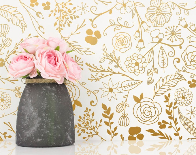 Botanical Wall Decals - Modern Vinyl Decal Set, Flower Blossoms, Leaf Decals, Gold Wall Decals, Nursery Decor, Cute Floral Wall Stickers