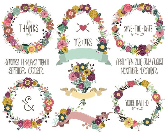 Wedding / Celebration Invitation Floral Wreaths and Design Elements Clip Art - Set of 25 Hand Drawn 300 DPI PNG, JPG, and Vector Files