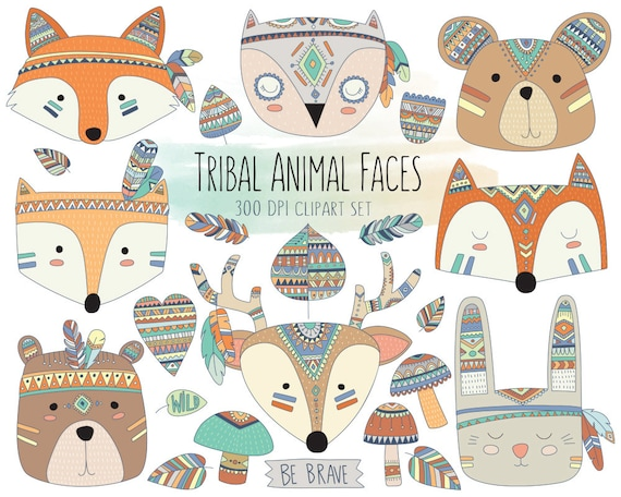 Tribal Animal Faces Clipart - Cute Clip Art, Woodland Clipart, Tribal Clipart, Animal Clipart, Cute Animals, Nursery Print