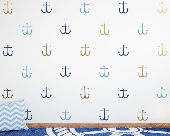 Anchor Wall Decals - 3-Color Anchor Decals, Nautical Decals, Nursery Decals, Cute Nautical Decor, Kids Room Wall Stickers