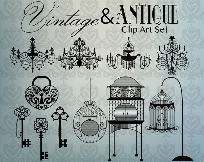 Hand Drawn Vintage/Antique Clip Art - Set of 11 300 DPI JPG, PNG and Vector Files + Background Pattern