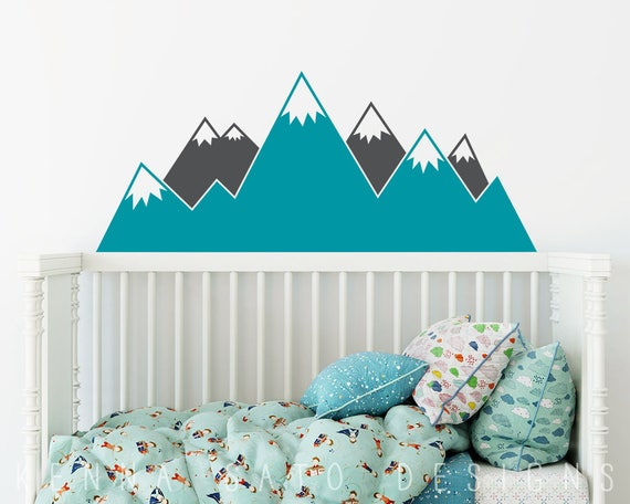 Mountain Wall Decal - Multicolor Nursery Decal, Mountain Decals, Kids Room Decal, Woodland Nursery, Nursery Wall Decor, Cute Wall Sticker