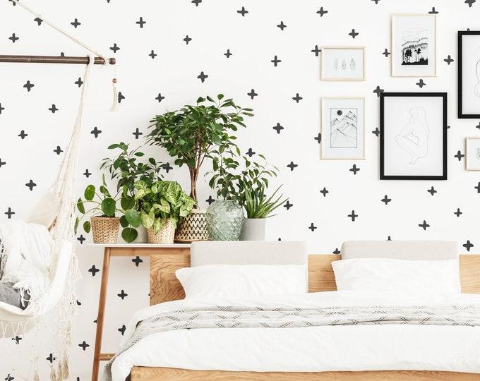 Plus Sign Wall Decals - Geometric Wall Art, Farmhouse Decor, Removable Wall Stickers, Nursery Decor, Scandinavian Wall Decor