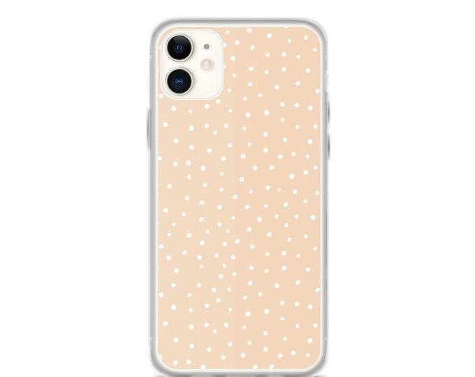 iPhone Case - Beige Polka Dot Phone Case, Minimal Boho Design