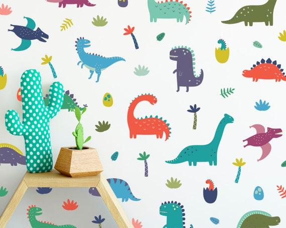 Dinosaur Wall Decals - Wall Decor, Dinosaur Decor, Nursery Decor, Gift for Kid, Boys Room Decor, Girls Room Decor, Reusable Wall Decals