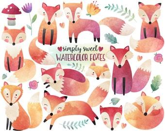 Watercolor Fox Clipart - Watercolor Clipart, Woodland Clipart, Fox Illustration, Cute Digital Clip Art Set