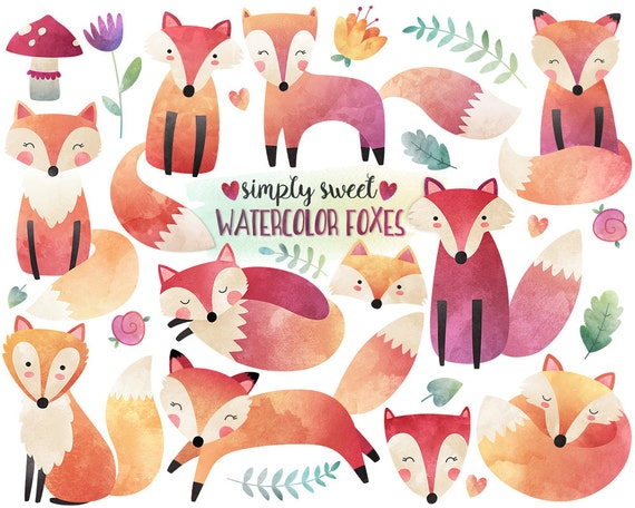 Watercolor Fox Clipart - Watercolor Clipart, Woodland Clipart, Fox Illustration, Cute Digital Clip Art Set