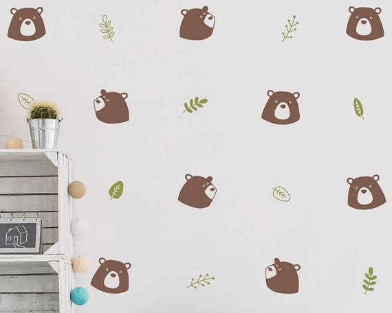 Bear & Floral Elements Wall Decal Set - Bear Decal, Vinyl Wall Decal, Nursery Wall Decal, Woodland Wall Stickers, Kids Bedroom Wall Decals