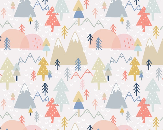 Forest Wallpaper - Peel and Stick Removable Wallpaper, Bedroom Wall Decor, Mountain Wall Art, Woodland Nursery Wallpaper, Kids Room Decor