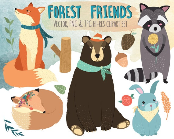Forest Friends Clipart - Woodland Animals Clip Art - Vector, PNG, & JPG Files - Cute Clipart, Kids Clipart, Woodland Nursery Decor