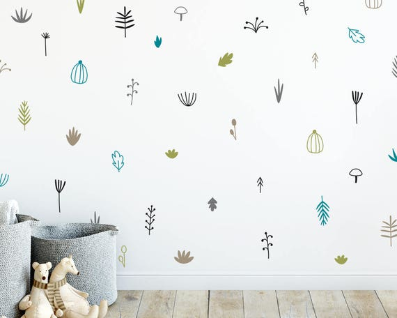 woodland wall decals nursery decals 5-color wall stickers | etsy