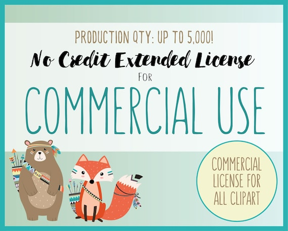 Extended License for Commercial Use of ALL CLIPART SETS - Extended Use of All Clip Art, Production Quantity up to 5,000, Small Business Use