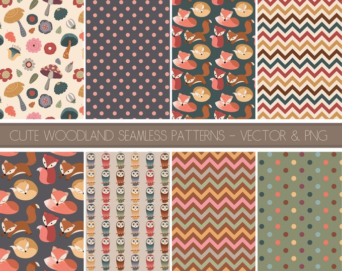 Cute Woodland Seamless Patterns Digital Paper Pack - 9 300 DPI PNG & Vector Files - Adorable Forest Clipart