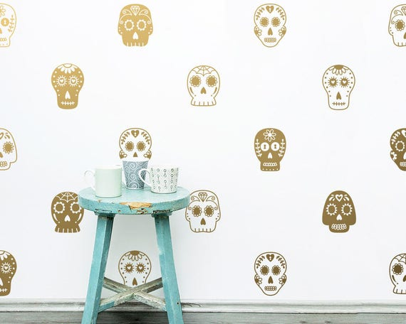 Sugar Skull Decals - Halloween Decor, Wall Decals, Wall Decor, Skull Decal, Sugar Skull, Vinyl Decals, Nursery Decor, Wall Stickers