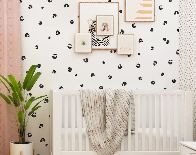 Cheetah Spot Wall Decals - Jungle Nursery Decor, Kids Room Wall Art, Peel and Stick Polka Dot Wall Stickers