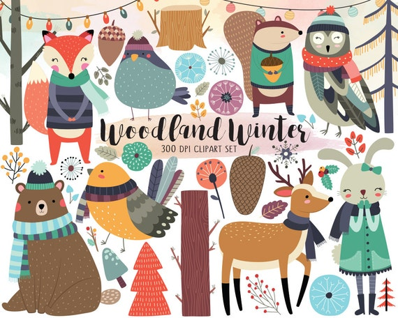Woodland Winter Clipart - Woodland Clipart, Winter Clipart, Autumn Clipart, Christmas Clipart, Digital Clip Art, Instant Download Clipart