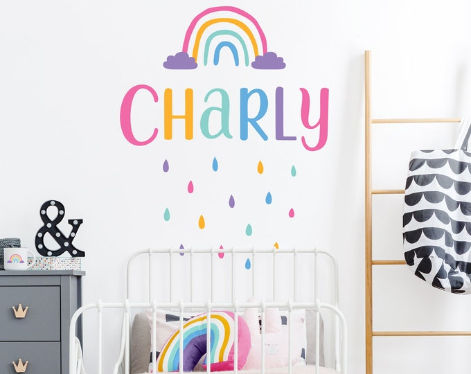 Rainbow Custom Name Vinyl Decal, Multicolor Personalized Name Wall Sticker, Colorful Raindrops, Rainbow Decor