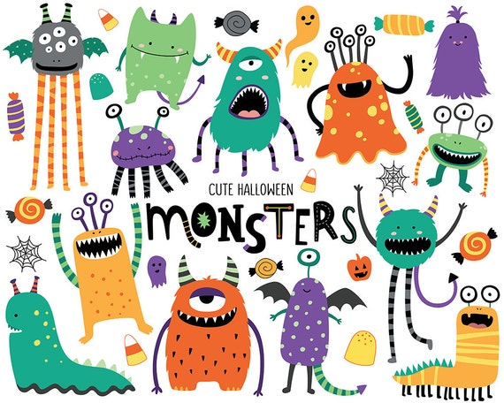 Halloween Monsters Clipart - Cute Halloween Clip Art, Monster Clipart, Holiday Clipart Digital Download, Commercial Use Clipart