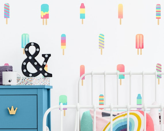 Popsicle Wall Decals - Watercolor Wall Decor, Reusable Wall Stickers, Nursery Decor, Popsicle Decor, Nursery Wall Art, Kids Room Decor