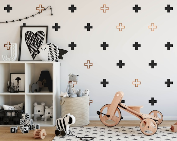 Plus Sign Wall Decals - Multicolored Swiss Cross Decals, Modern Wall Decals, Geometric Decals, Scandinavian Interior, Minimalist Decor