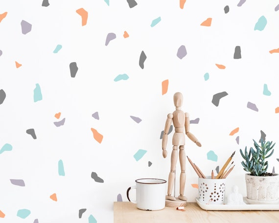 Terrazzo Pattern Wall Decals - Abstract Wall Decor, Modern Wall Art, Wall Decal Set, Unique Home Decor, Gift for Home, 90s Style Decor