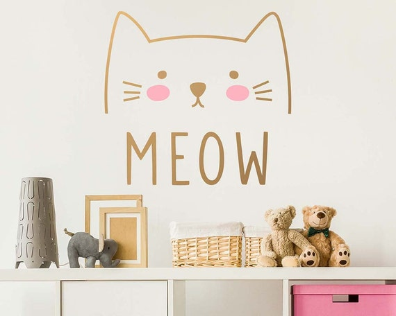 Cat Wall Decal - Cute Cat Decal, Kids Wall Decal, Nursery Decal, Removable Wall Sticker, Vinyl Decal