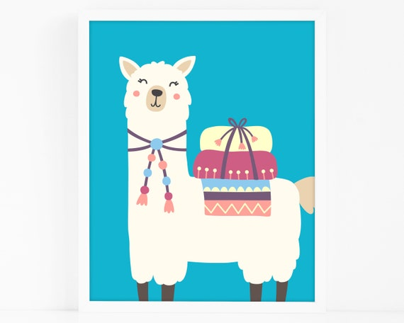 Alpaca Art Print - Kids Room Art Print, Llama Nursery Art, Wall Art, Wall Decor