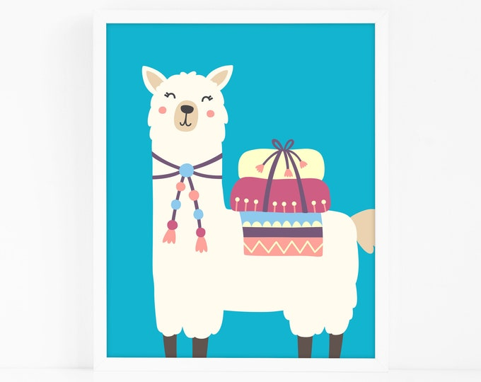Alpaca Art Print - Kids Room Art Print, Llama Nursery Art, Wall Art, Wall Decor