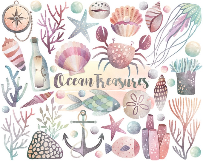 Watercolor Ocean Clipart - Watercolor Clipart, Beach Clipart, Ocean Clip Art, Digital Watercolor Printables, Seashell & Sea Life Clip Art