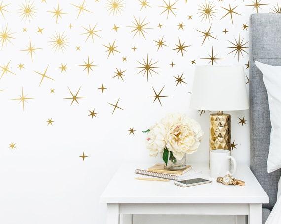 Sparkle Wall Decals - Gold Star Decals, Nursery Wall Decals, Star Wall Stickers, Removable Wall Decals, Sparkle Wall Stickers