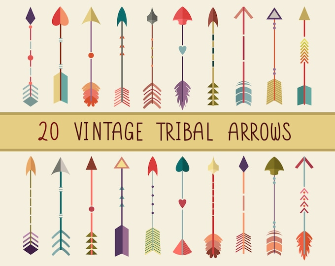 Vintage Tribal Arrows Clip Art - Set of 20 300 DPI PNG, JPG, and Vector Files