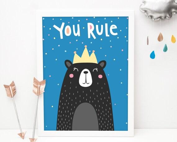 You Rule Bear Art Print - Kids Room Art Print, Nursery Art, Wall Art, Wall Decor