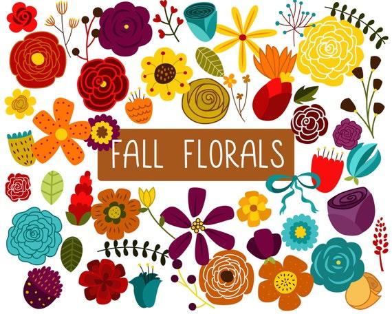 Vintage/Retro Autumn Floral Design Elements Clip Art - Set of 52 300 DPI PNG, JPG and Vector Files Digital Download