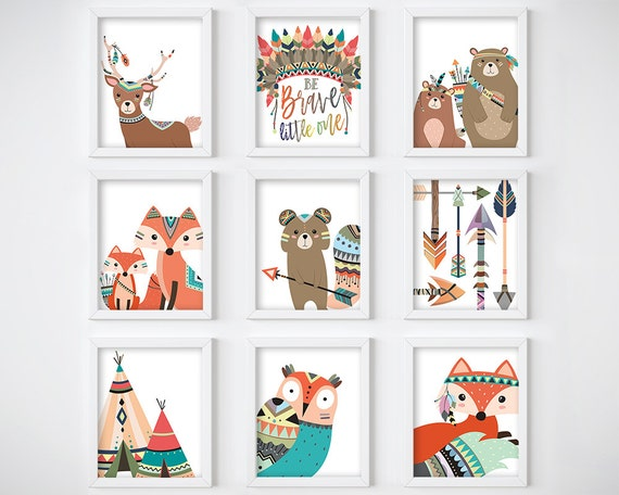 Wall Art Print - Tribal Animals Digital Print, Nursery Print, Printable Wall Art, Digital Download, Woodland Animals Art Print
