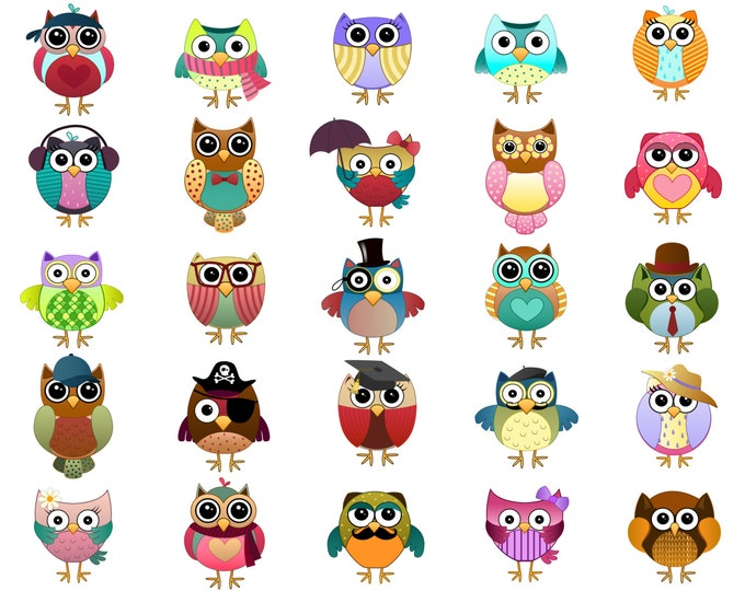 Cute Owl Characters Clip Art - Set of 25 Hand Drawn 300 DPI JPG, PNG and Vector Files - Kids, Teacher, Adorable Clipart Digital Download
