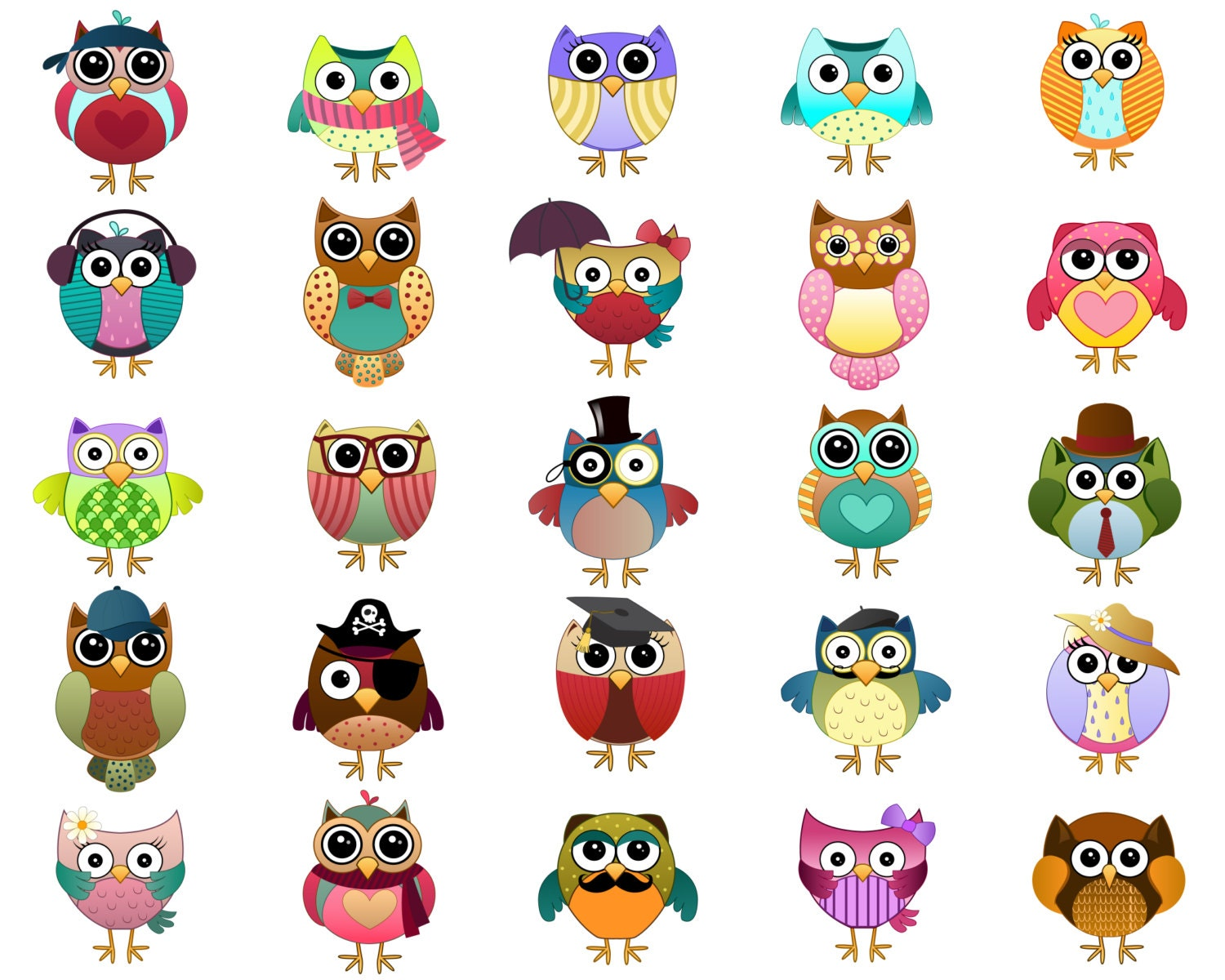 Cute Owl Characters Clip Art - Set of 25 Hand Drawn 300 ...