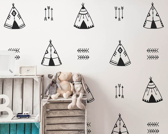 Teepee Wall Decals - Nursery Decals, Tribal Decals, Geometric Decals, Vinyl Wall Decals, Arrow Decals, Cute Tribal Wall Stickers