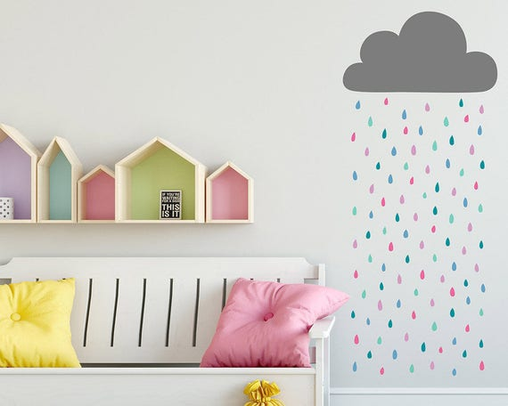 Rain Cloud Wall Decal - Cloud and Rainbow Raindrops Wall Decal, Vinyl Wall Decal, Cloud Wall Sticker, Raindrop Decal, Nursery Wall Decals