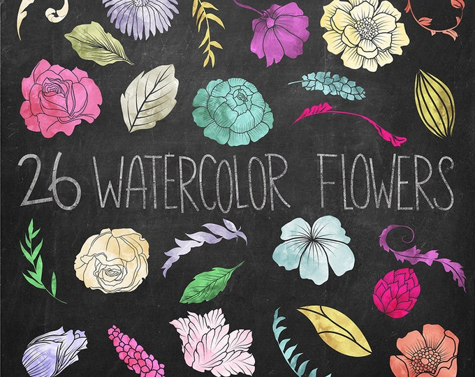Watercolor Flowers Clip Art - Set of 26 Hand Drawn Textured Floral Elements - 300 DPI PNG and JPG Files